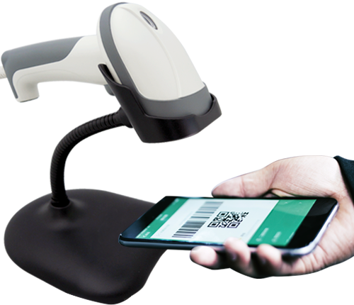 handheld 2d barcode scanner with stand